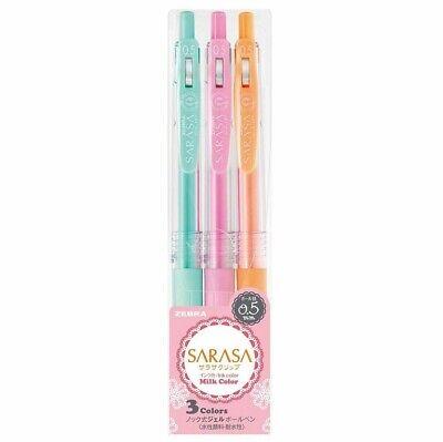 Zebra Gel Ink Ballpoint Pen Sarasa Clip 0.5 Milk Color 3 Set Jj15-3c-mk Fs