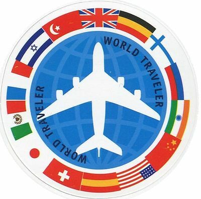 """World Traveler"" Travel Designed Sticker for the decoration of Suitcase etc"