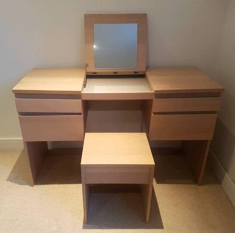 Ikea Malm Dressing Table With Fold Down Mirror Oak