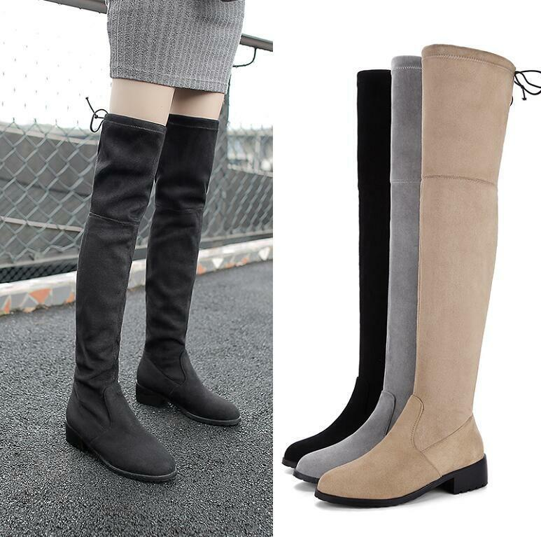 Large size boots for women with round head and low heels
