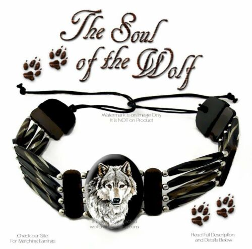 SOUL OF THE WOLF CARVED BEAD & LEATHER CHOKER NECKLACE - HAT BAND WOLVES ART