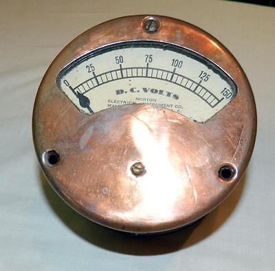 COPPER Antique Vintage 1890s NORTON DC Voltmeter STEAMPUNK Meter Gauge Large
