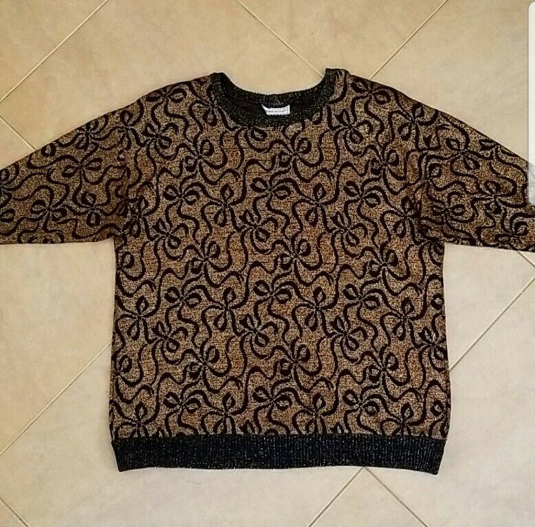 Vintage 1980s Black Holiday Sweater with Gold Bows