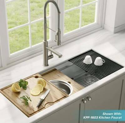 New KRAUS 45 inch KWU120-45 Undermount Stainless Steel Workstation Sink + Extras