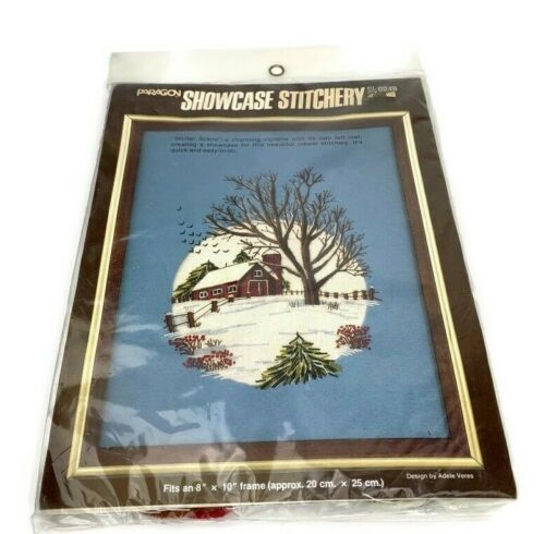 Vintage Paragon Winter Scene Crewel Embroidery Kit Barn Trees Snow 0248 NOS 1983