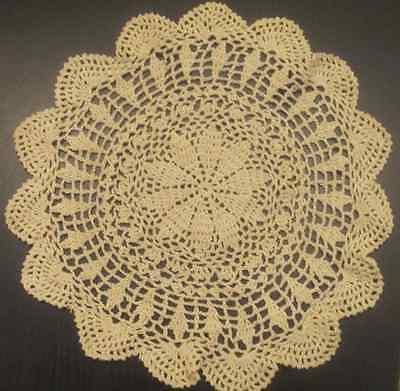 """6 PCS 12"""" Round   Crochet Lace Doily COLOR BEIGE 100 % COTTON"""