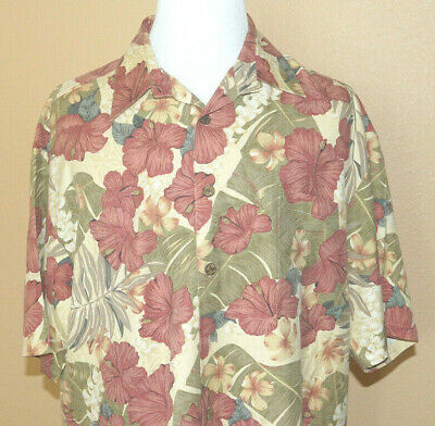 NWOT - Kahala Hawaiian Silk Shirt - XL - Rose, green & tan Hibiscus floral for sale  Shipping to Canada
