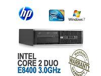 HP ELITE 4GB 500GB DVD Fast Windows 7 Pro 64 bit Desktop PC Computer Base Unit
