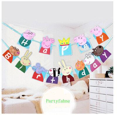 Party Flaggen (Partyfahnen Geburtstagsfahnen Deko Flagge Peppa Wutz  Kinderparty Partybanner)