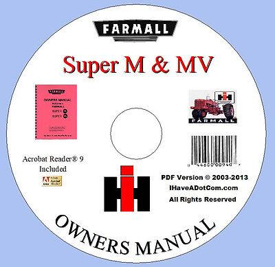 Farmall Super M  Mv Tractor Owners Manual New