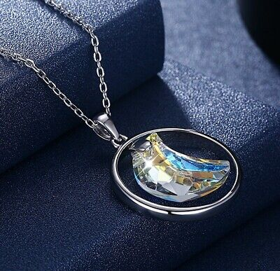 Sterling Silver White Crystals Crescent Half-Moon Pendant Necklace with Crystals