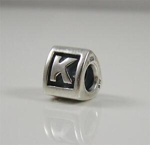 Authentic Genuine Pandora Sterling Silver Letter K Charm Bead