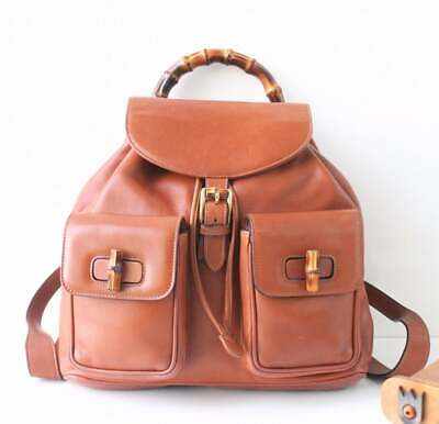 Auth GUCCI Bamboo two pockets Brown Leather Large Backpack vintage handbag