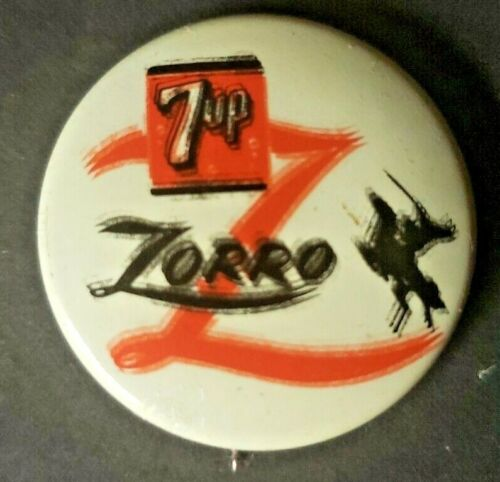 Rare Misprint 7up Soda & Walt Disney Zorro Movie Promo Button Pin NOS 1957
