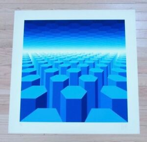 YVARAL VASARELY SIGNED LIMITED EDITION SERIGRAPH 171/200 HORIZON STRUCTURE BB