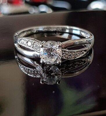 9ct white Gold crossover Dubai Created diamond Ladies engagement ring size P