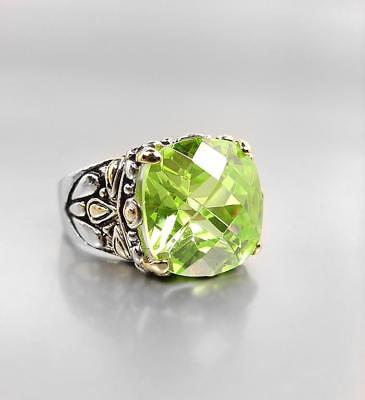 NEW Designer Style Peridot Green CZ Crystal Silver Gold BALINESE Filigree Ring