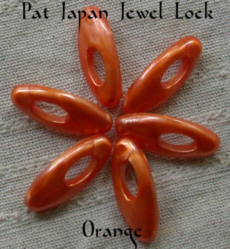 Six ORANGE Plastic Pat Japan Jewel Lock Hijab Muslim Scarf Snag Free Hijab Pin