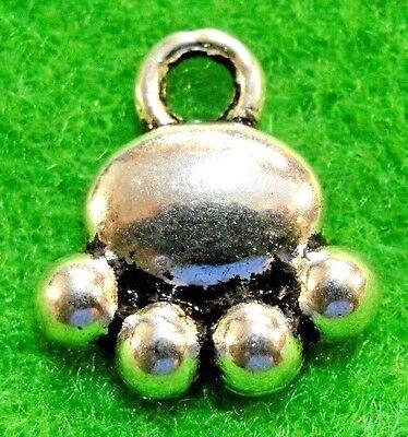50Pcs. WHOLESALE Tibetan Silver BEAR Paw Print Charms Pendants Ear Drops Q1229