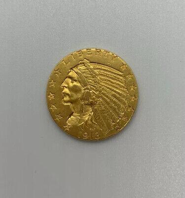 1913 $5 Dollar Gold Half Eagle Indian Head, AU Indian Head Half Eagle