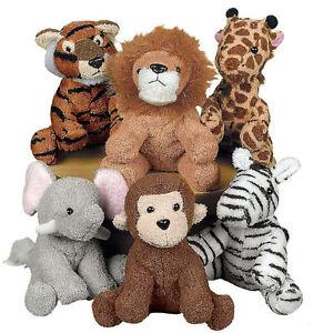 6-Stuffed-Animals-ZOO-Safari-Jungle-TIGER-LION-GIRAFFE-ZEBRA-MONKEY-ELEPHANT