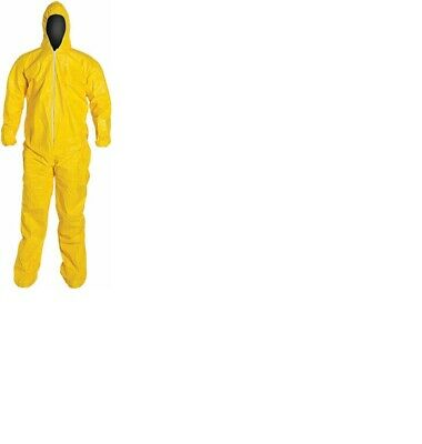 Dupont Tychem 4 Pc Large Tyvek Qc127 Yellow Coverall Chemical Hazmat Suit