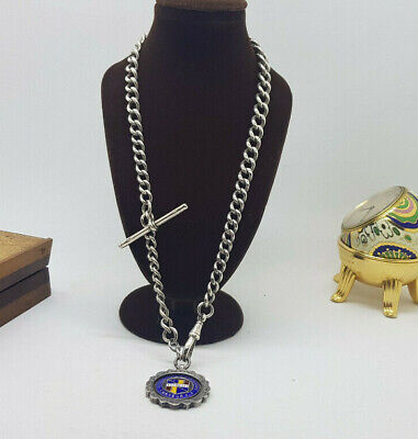 ANTIQUE SOLID SILVER ALBERT POCKET WATCH CHAIN WITH FOB & T-BAR 65.3 G.