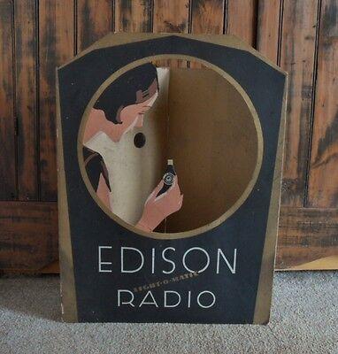 >Original 1929 THOMAS EDISON RADIO Light-O-Matic TRI-FOLD WINDOW-STORE DISPLAY!!