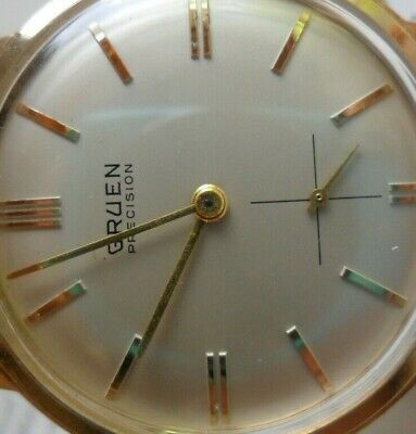 Clean Dial Vintage 1970's Men's Gruen Precision Swiss Mechanical Watch Runs