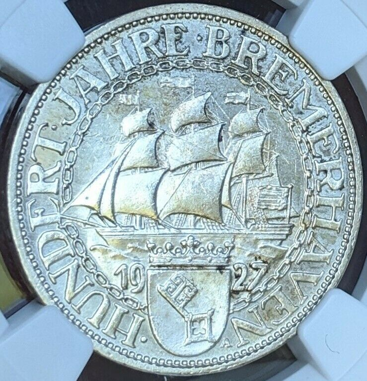 1927-A Germany Bremerhaven NGC MS64 Choice UNC Silver 3 Mark Weimar 3 Reichsmark