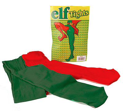 Ladies Mens  Elf Tights Red Green Medieval Jester Fancy Dress Costume New OS ()