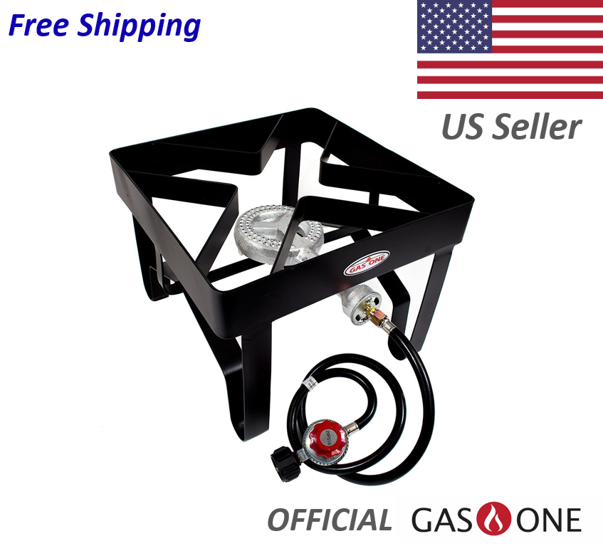 GasOne High Pressure Burner Patio Stove, Black, Medium
