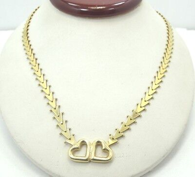 (Gorgeous 14K Yellow Gold Open Heart Beaded V Link 17 Inch Necklace A3730)