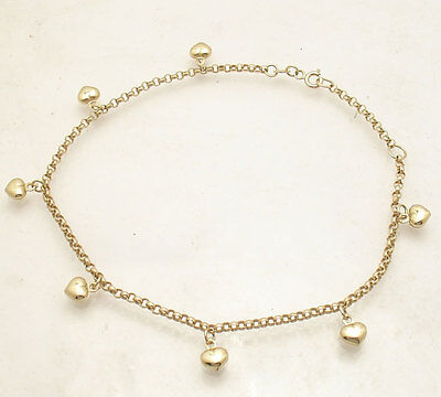 Adjustable Puffed Heart Rolo Chain Ankle Bracelet Anklet Real 14K Yellow Gold