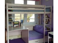 Dreams High sleeper bed with desk, shelves and sofa/pull out guest bed - excellent condition