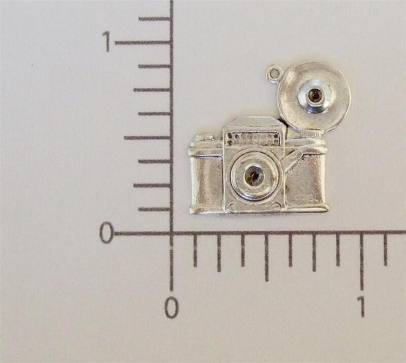 58194        2 Pc. Matte Silver Oxidized Vintage Camera Charm Jewelry Finding