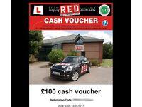 RED Driving lesson cash vouchers