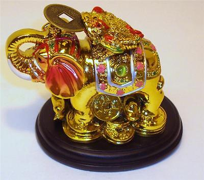 Chinese Oriental Gold Golden Feng Shui Elephant Money Coin Frog Toad Wealth #sd