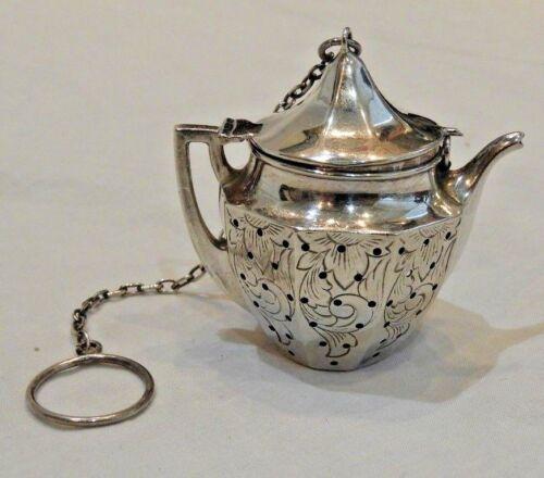 Antique Sterling Silver Tea Pot Kettle Tea Strainer