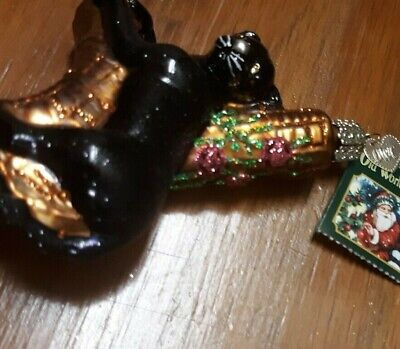 Christmas Tree Ornament Old World Mercury Glass Black Panther CAT Wild Life rare ()