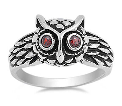 Oxidized Owl - Sterling Silver 925 OXIDIZED OWL FACE DESIGN WITH GARNET CZ RING 11MM SIZES 5-12