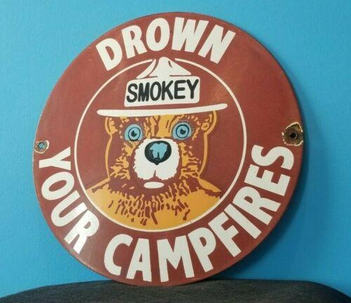 "VINTAGE SMOKEY THE BEAR PORCELAIN 12"" NATIONAL PARK ENTRANCE SERVICE PUMP SIGN"