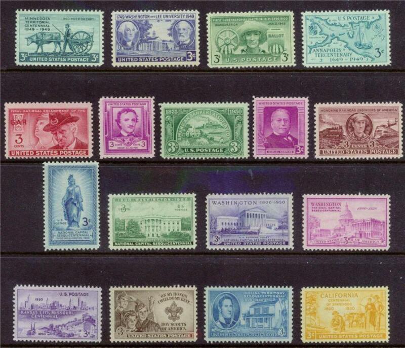 COMPLETE US COMMEM STAMPS 1949-1950 Mint NH