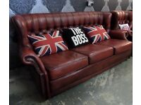 Stunning Chesterfield Vintage 3 Seater Sofa Low Back in Blue Leather UK Delivery