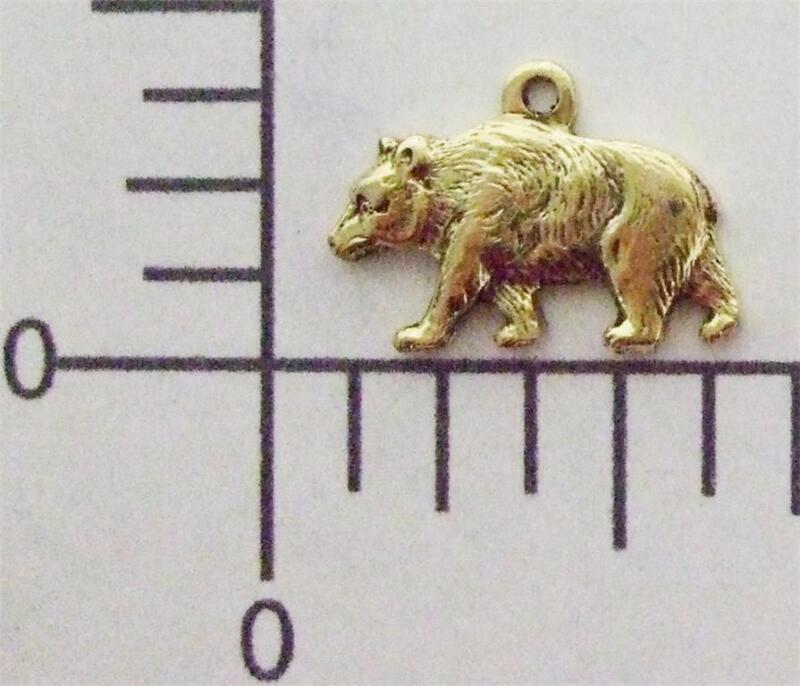 43523        2 Pc. Brass Oxidized Small Bear Charm Jewelry Finding