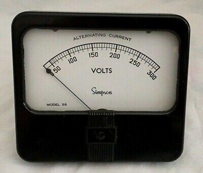 Vintage Simpson Electric 300 Volt Ac Voltage Meter Model 59 Bakelite - Tested