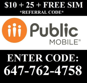 $10+$25 Referral Public mobile 647-762-4758 PLUS Free Sim