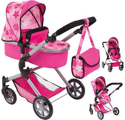 Bayer Design Puppenwagen City Neo Sterne (Pink-Rosa) Kinderwagen Puppe Buggy