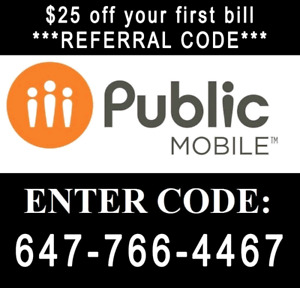 $25 Referral Public mobile Code - Please Use Mine, thanks :)