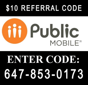 $10 public mobile referral code + 1 month free + free sim